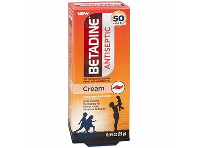 Betadine First Aid Cream Povidone Iodine Antiseptic with No-Sting Promise, 0.53 Fluid Ounce