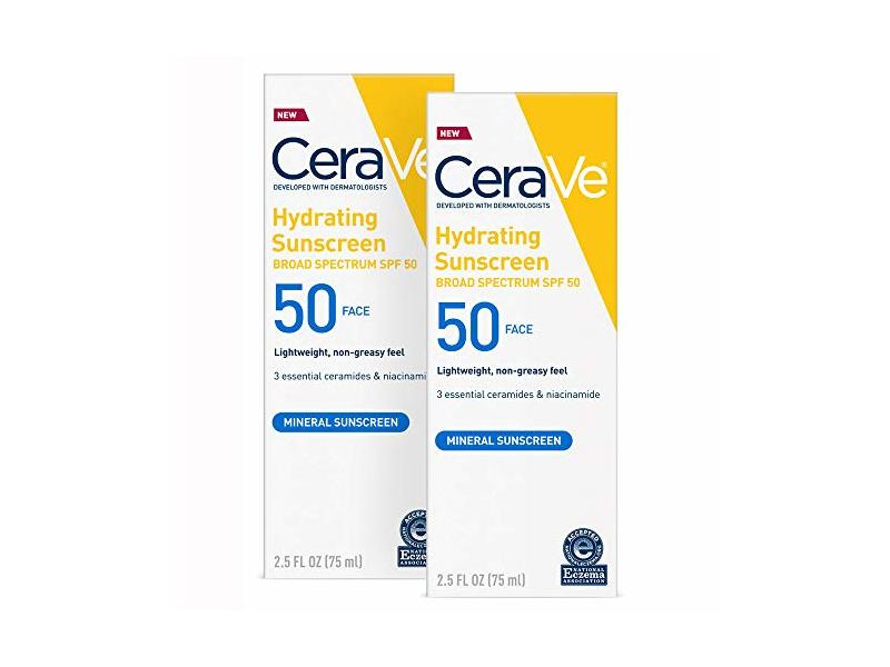 CeraVe Hydrating Sunscreen, SPF 50 Face, 2.5 oz (2 Pack)
