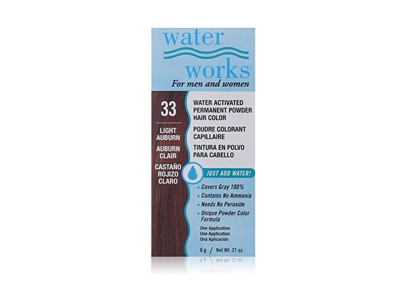 Water Works Water Activated Permanent Powder Hair Color, #33 Light Auburn, 0.21 oz