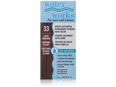 Waterworks Water Activated Permanent Powder Hair Color, #33 Light Auburn, 0.21 oz