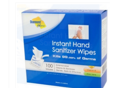 Diamond Wipes Instant Hand Sanitizer Wipes, 100 wipes