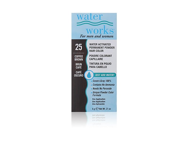 Waterworks Water Activated Permanent Powder Hair Color, #25 Coffee Brown, .21 oz