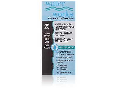 Water Works Water Activated Permanent Powder Hair Color, #25 Coffee Brown, .21 oz