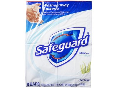 Safeguard Antibacterial Soap, White with Aloe, 4 oz x 8 count