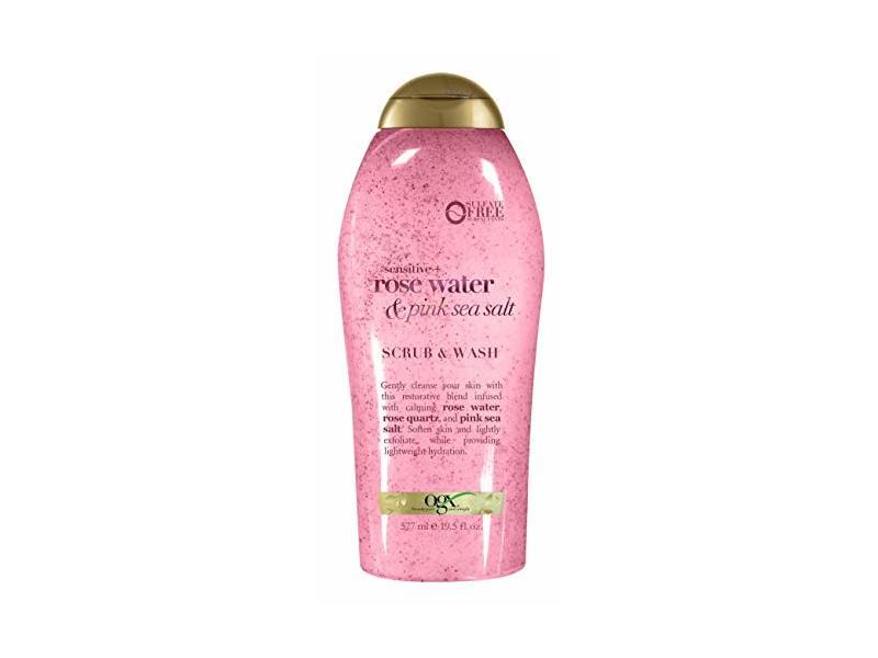 Ogx Body Scrub & Wash Rose Water & Pink Sea Salt, 19.5 Ounce
