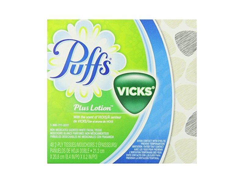 Puffs Plus Lotion Vicks Facial Tissues, 48 Count