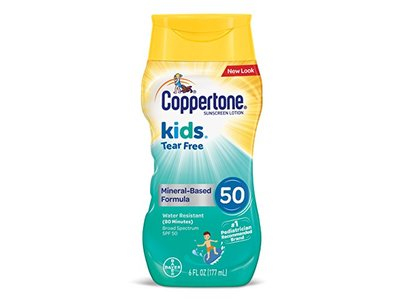Coppertone Kids Tear Free Sunscreen Mineral Based Lotion, SPF 50, 6 fl oz