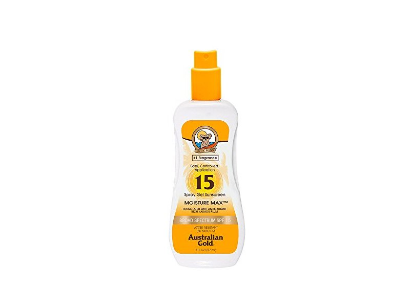 Australian Gold SPF 15 Spray Gel Sunscreen, Clear, 8 Fl Oz