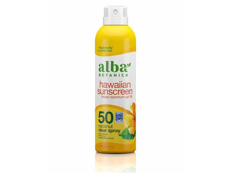 Alba Botanica Hawaiian Sunscreen Coconut Clear Spray, SPF 50, 6 oz/171 g