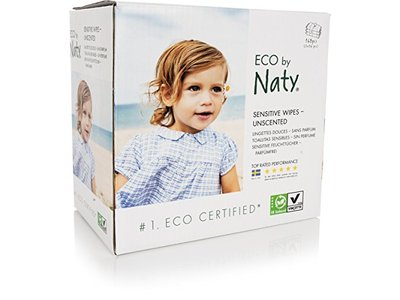 ECO by Naty Sensitive Wipes, Unscented, 3 boxes of 56 (168 Count)