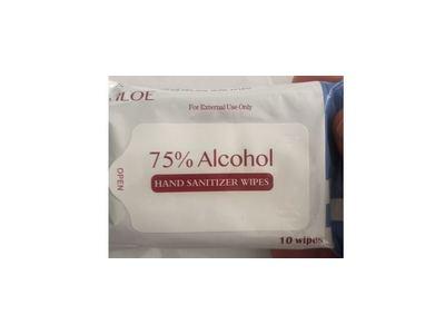 Viloe 75% Alcohol Hand Sanitizer Wipes, 10 Count