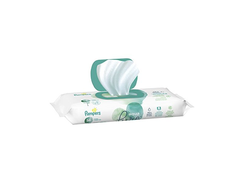 Pampers Aqua Pure Sensitive Water Baby Wipes, Unscented, 56 ct (Pack of 8)