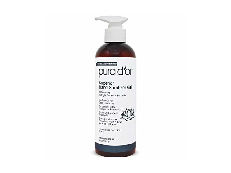 Pura d'or Superior Hand Sanitizer, Lemongrass Soothing Scent, 16 fl oz/473 ml