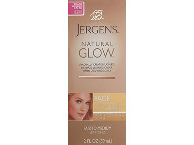 Jergens Natural Glow Face Daily Facial Moisturizer SPF 20 For Fair To Medium Skin Tones, 2 oz