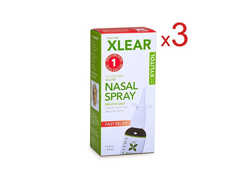 Xlear All Natural Saline Nasal Spray 1.50 Ounces (Pack of 3)