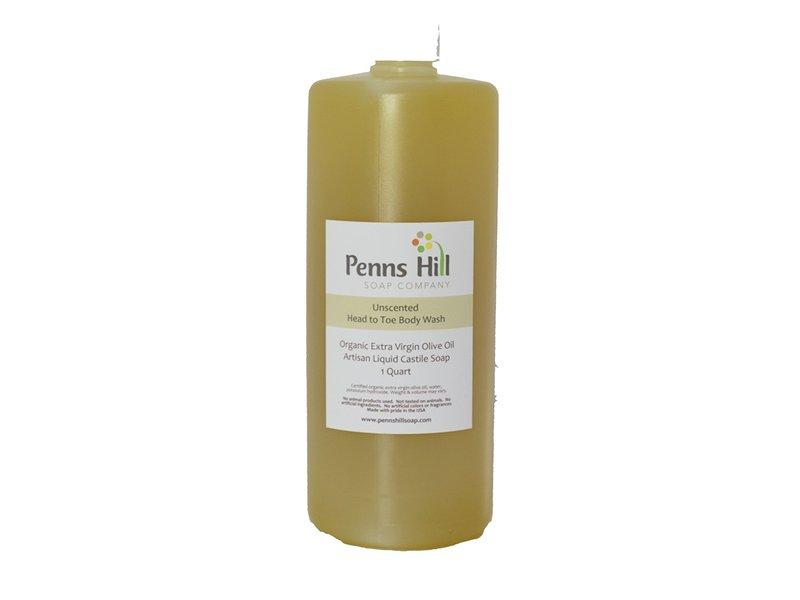 Penns Hill Organic Extra Virgin Olive Oil Liquid Castile Soap, Unscented, 1 Quart