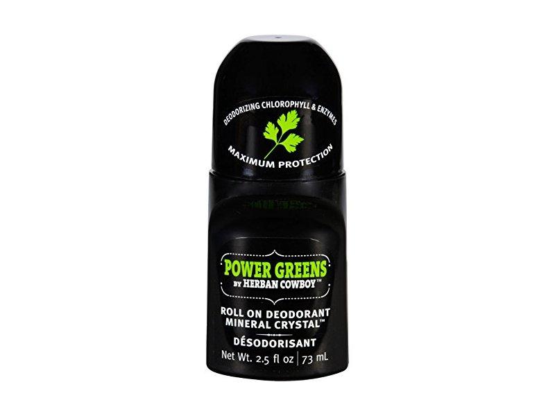 Herban Cowboy Power Greens Roll On Deodorant Mineral Crystal, 2.50 fl oz