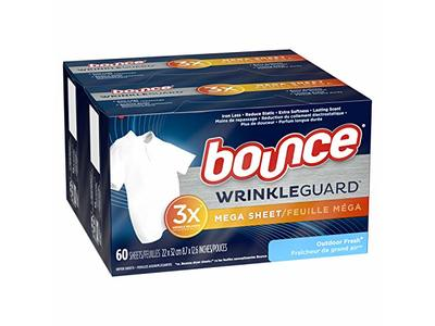 Bounce Wrinkleguard Mega Dryer Sheets Fabric Softener And Wrinkle Releaser Sheets Outdoor Fresh Scent 120 Count Pack Of 2 60 Count Each Ingredients And Reviews