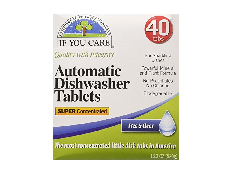 If You Care Automatic Dishwasher Tablets, Free & Clear, 40 Count