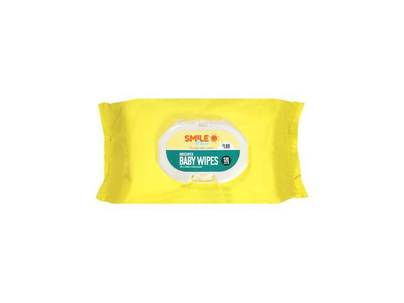 Smile & Save Baby Wipes, Unscented, 120 ct