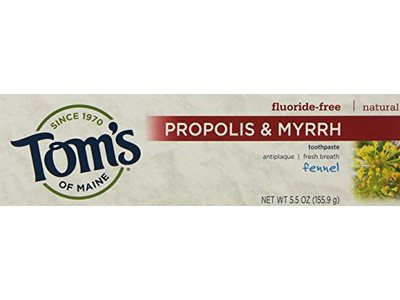 Tom's of Maine Fluoride-Free Fennel Toothpaste with Propolis and Myrrh, 5.5 oz (2 count)