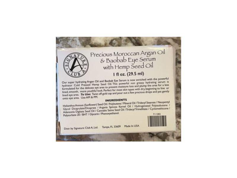 Signature Club A Precious Moroccan Argan Oil & Baobab Eye Serum With Hemp Seed OIl, 1 fl oz/29.5 mL