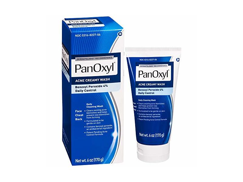 PanOxyl Acne Creamy Wash Benzoyl Peroxide 4% Daily Control, 6 Ounce