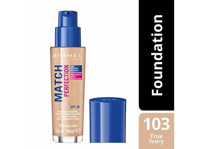 Rimmel Match Perfection Liquid Foundation SPF 20 Color 103 True Ivory 1 oz - Image 4