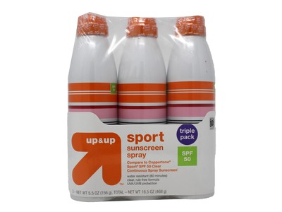 up&up Sport Sunscreen Spray, SPF 50, 3 pack, 16.5 oz - Image 1