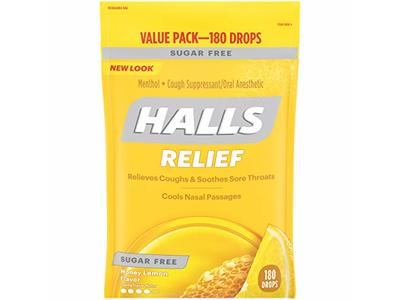 Halls Sugar Free Cough Suppressant, Honey-Lemon, 180-Drop Bag