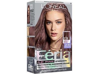 L'Oréal Paris Feria Multi-Faceted Shimmering Permanent Hair Color, 721 Dusty Mauve, 1 ct