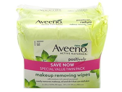 Aveeno Make-Up Remover Wipes, 25 Count - Image 1