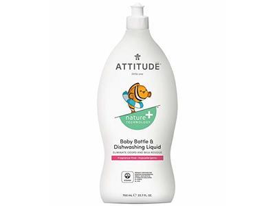 Attitude Nature + Baby Bottle and Dishwashing Liquid, Fragrance Free, 23.7 fl oz