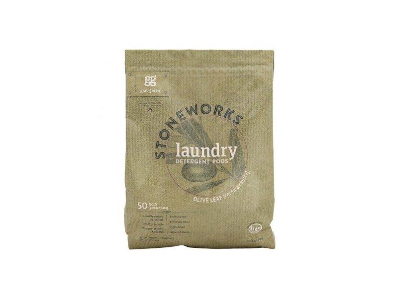 Grab Green Stoneworks Laundry Detergent Powder Pods, Olive Leaf, 50 loads