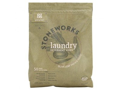 Grab Green Stoneworks Laundry Detergent Powder Pods, Olive Leaf, 50 loads