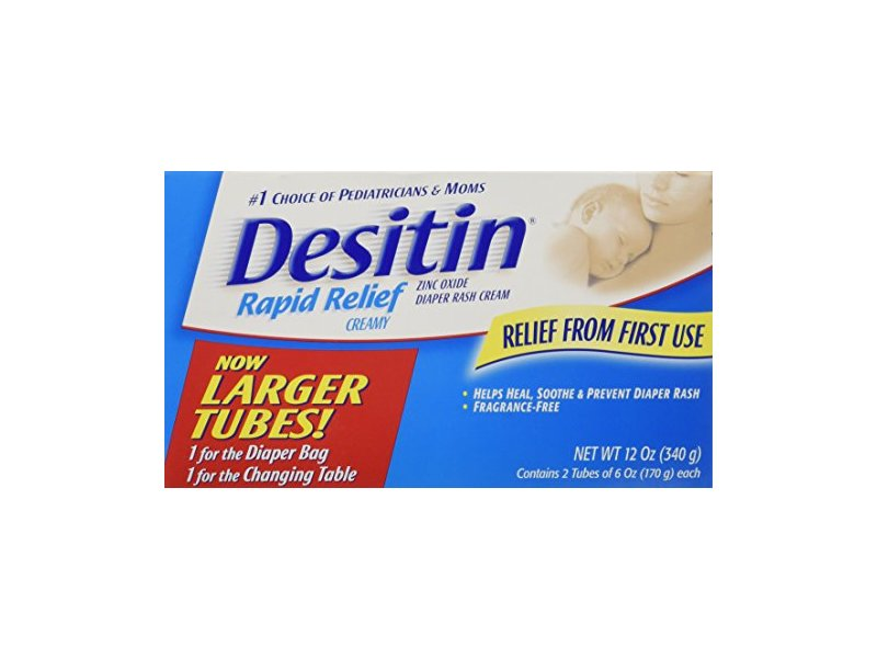 Desitin Rapid Relief Zinc Oxide Diaper Rash Cream, 6 oz (pack of 2)