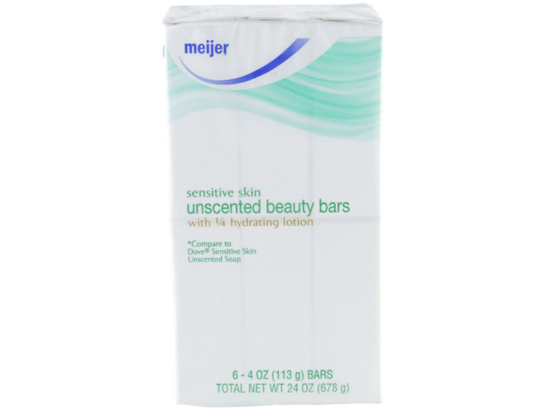 Meijer Beauty Bars, Sensitive Skin Unscented, 4 oz (Pack of 6)