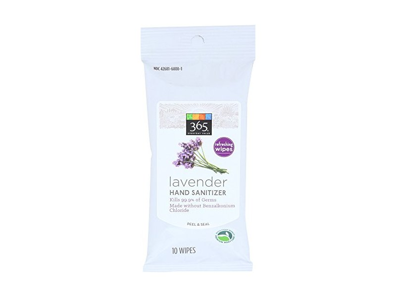 365 Everyday Value, Lavender Hand Sanitizer Wipes, 10 CT
