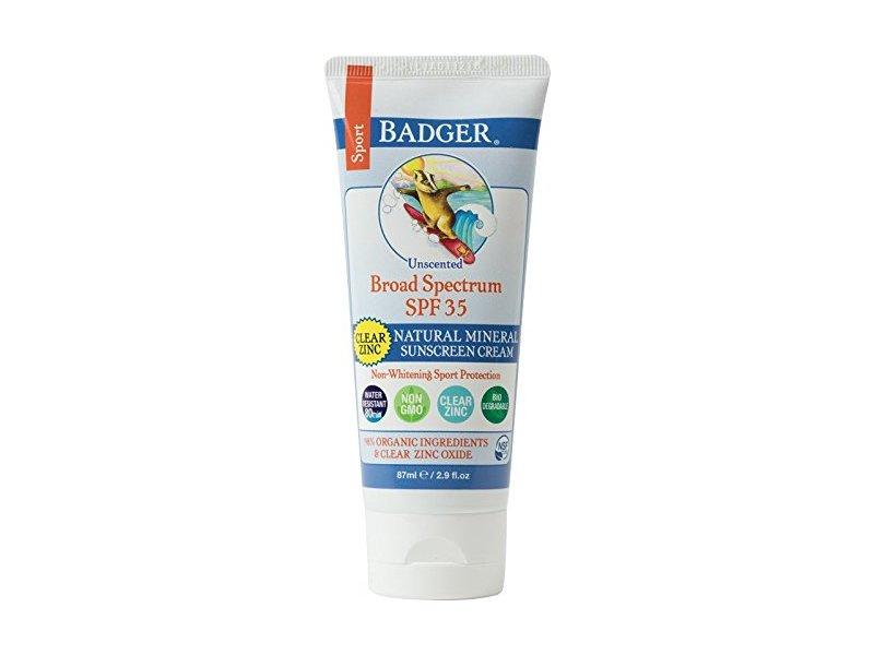 Badger Natural Mineral Clear Zinc Sport Sunscreen Cream, 29 oz