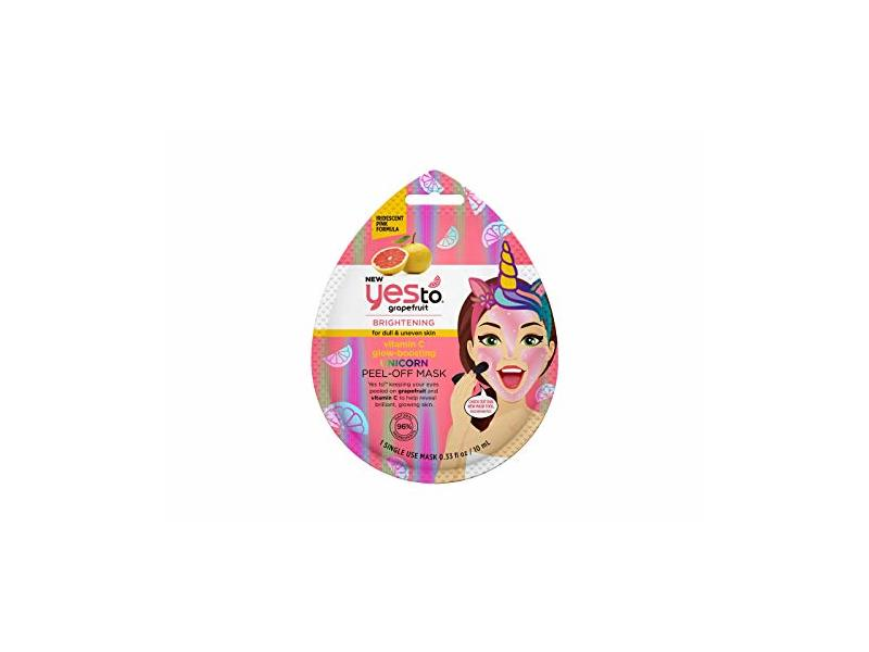 Yes To Vitamin C Glow Boosting Unicorn Peel Off Mask, Grapefruit, 0.33 fl oz / 10 mL, 1 Count
