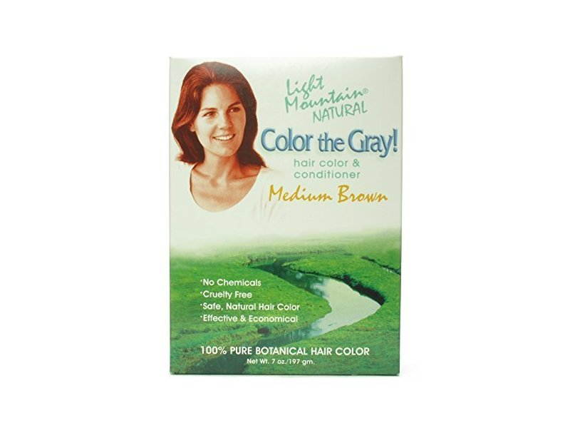 Light Mountain Natural Color the Gray Hair Color & Conditioner, Medium Brown 7 oz (198 g)