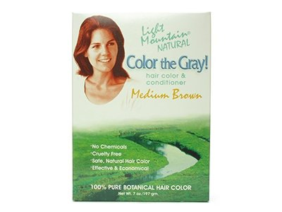 Light Mountain Natural Color the Gray Hair Color & Conditioner, Medium Brown 7 oz (198 g) - Image 1