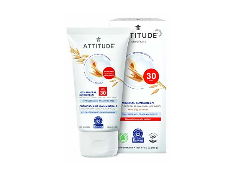 Attitude Mineral Sunscreen, SPF 30, Fragrance Free, 5.2 oz