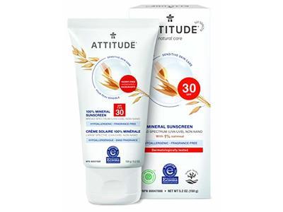 Attitude Mineral Sunscreen, SPF 30, Fragrance Free, 5.2 oz