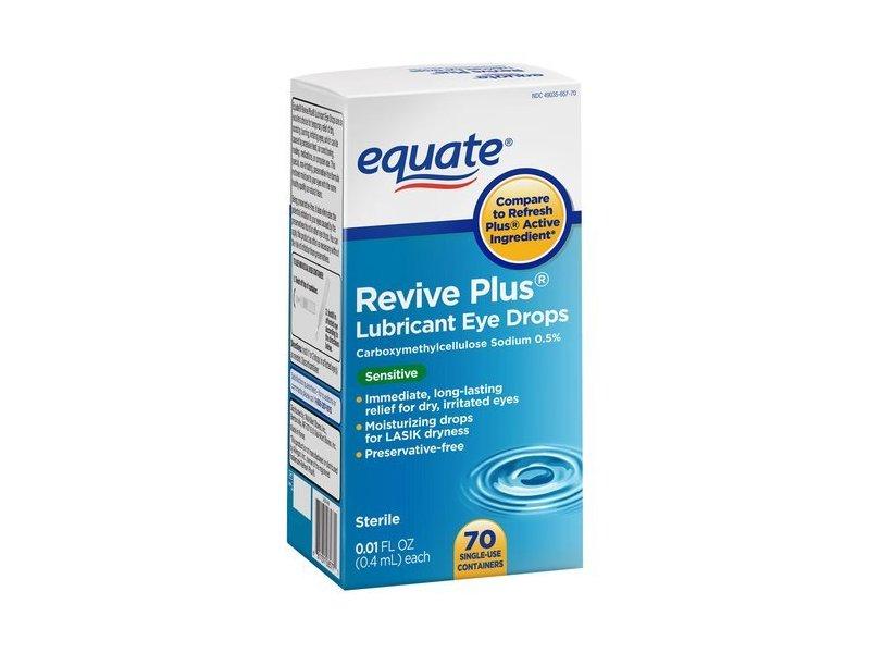 Equate Revive Plus Lubricant Eye Drops, Sensitive, 70ct