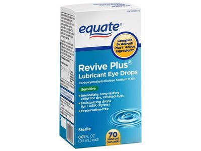 Equate Revive Plus Lubricant Eye Drops, Sensitive, 70ct