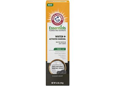 Arm & Hammer Essentials Whiten & Activated Charcoal Fluoride-Free Toothpaste, Clean Mint, 4.3 oz / 121 g