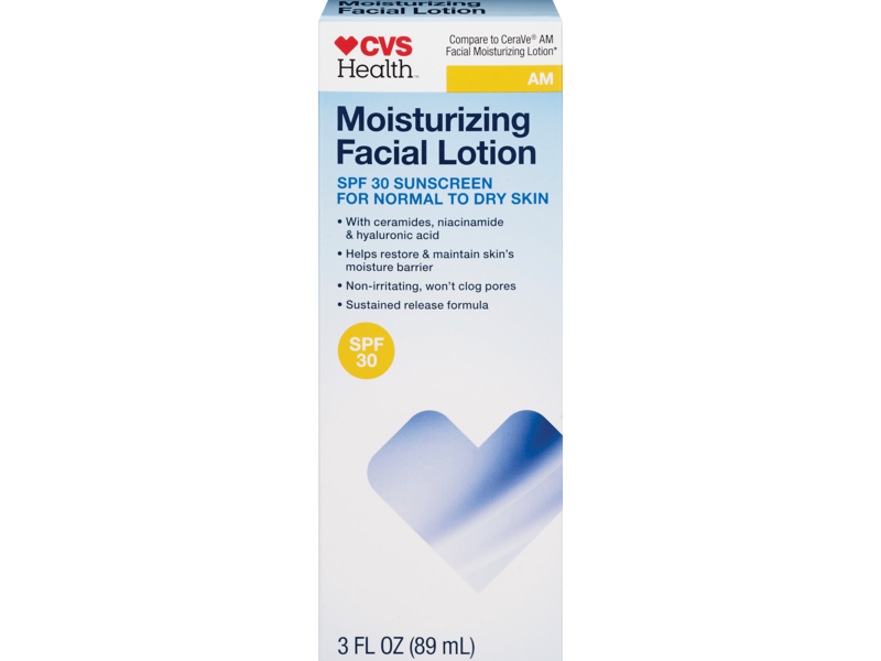 CVS Health AM Moisturizing Facial Lotion For Normal to Dry Skin SPF 30