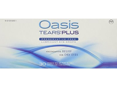Oasis Tears Plus Preservative-Free Lubricant Eye Drops,0.01 fl oz (Pack of 30)