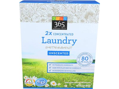 365 Everyday Value 2x Concentrated Laundry Detergent, Unscented, 80 loads